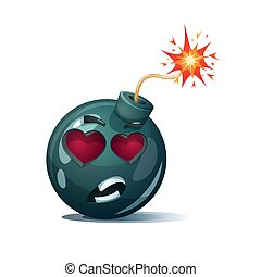 Cartoon bomb, fuse, wick, spark, tooth icon. Love smiley.
