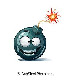 Cartoon bomb, fuse, wick, spark, tooth icon. Smile smiley.