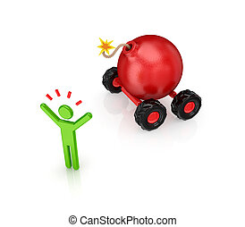 Cartoon bomb on wheels.
