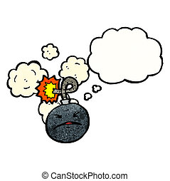 cartoon bomb with face
