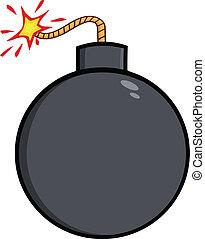 Cartoon Bomb With Lit Fuse