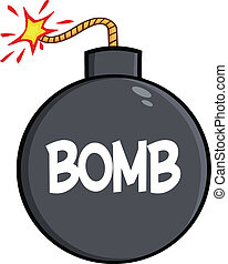 Cartoon Bomb With Text  Illustration Isolated on white