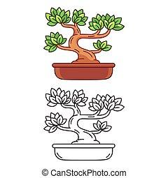 Cartoon Bonsai tree - Stylized cartoon Bonsai tree, black ...