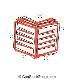 Cartoon book icon in comic style. Book illustration pictogram. Education splash business concept.