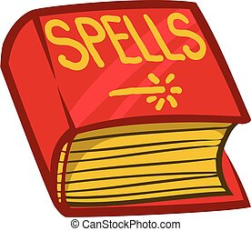 Cartoon book of spells. Vector illustration