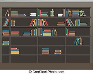 Cartoon Bookcase Background. Library Illustration