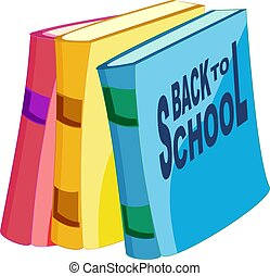 Cartoon books with text Back to school