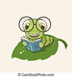 Cartoon bookworm, EPS10, This illustration contains ...