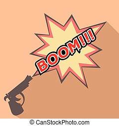 Cartoon Boom with a gun. Weapons.
