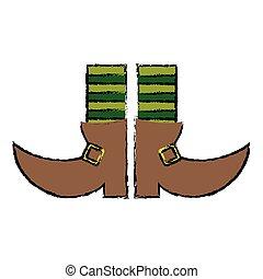 cartoon boot leprachaun stripes socks st patrick day vector...