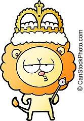 cartoon bored lion wearing crown