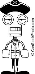 Cartoon Bored Pirate Robot - A cartoon pirate robot looking...