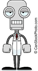 Cartoon Bored Scientist Robot