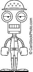 Cartoon Bored Zookeeper Robot - A cartoon zookeeper robot...