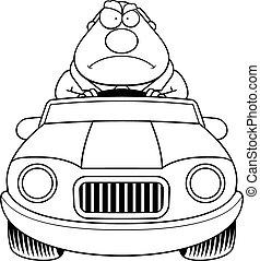 Cartoon Boss Driving Angry
