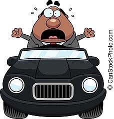 Cartoon Boss Driving Panic
