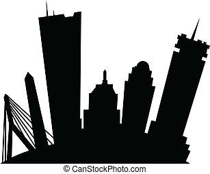 Cartoon Boston - Cartoon skyline silhouette of the city of ...