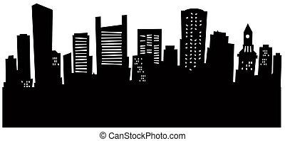 Cartoon skyline silhouette of the city of Boston, USA.