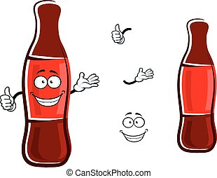 Cartoon bottle of soda with thumb up