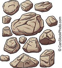 Cartoon boulders. Cartoon boulders, rocks and pebbles....