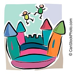 Cartoon bouncy castle - A cartoon image of kids playing on a...