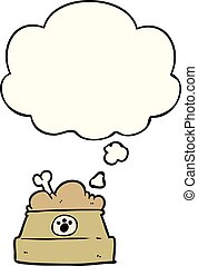 cartoon bowl of dog food and thought bubble