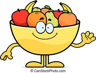 Cartoon Bowl of Fruit Waving - A cartoon illustration of a...