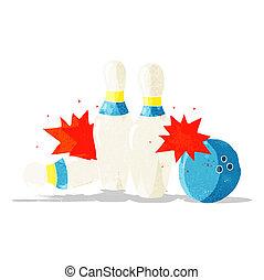 cartoon bowling ball and skittles