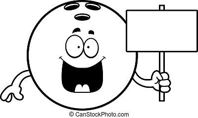 Cartoon Bowling Ball Sign