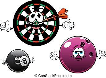 Cartoon bowling, billiard and dartboard characters