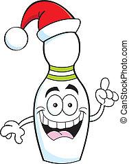 Cartoon bowling pin wearing a Santa