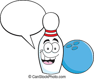Cartoon illustration of a bowling pin with a caption balloon and a bowling ball.