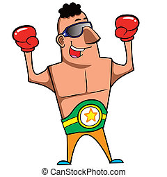 Cartoon Boxer - Cartoon boxer with boxing gloves vector...