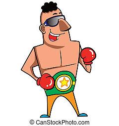 Cartoon Boxer - Cartoon boxer with boxing gloves vector...