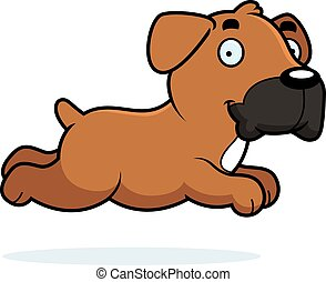 Cartoon Boxer Running - A cartoon illustration of a Boxer...
