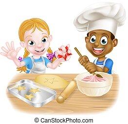 Cartoon Boy and Girl Baking