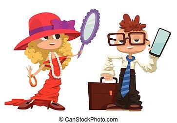 Cartoon boy and girl dressed like mother, father - Cartoon...