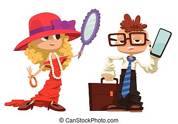 Cartoon boy and girl dressed like mother, father - Cartoon...