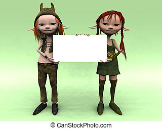 Cartoon boy and girl holding a blank sign