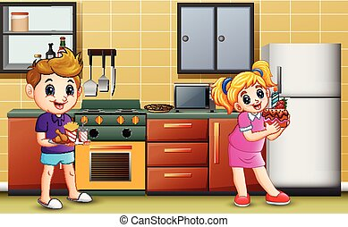 Cartoon boy and girl holding a foods in the kitchen