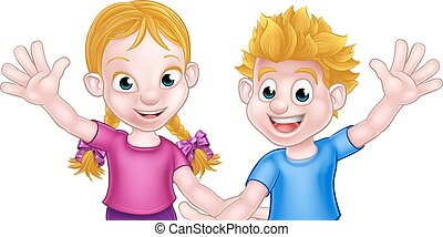 Cartoon Boy and Girl Kids