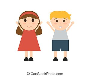 Cartoon boy and girl on a white background vector