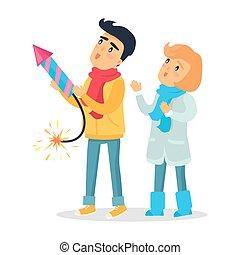 Cartoon Boy and Girl Set off Firework Rocket. - Cartoon boy...