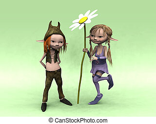 Cartoon boy and girl with big flower