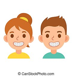 Cartoon boy and girl with braces