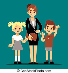 Cartoon boy and girl with their first teacher. Back to school vector illustration