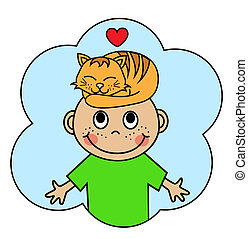 Cartoon boy and sleeping orange cat - Cartoon boy with a...