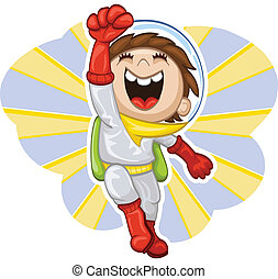Cartoon boy-astronaut