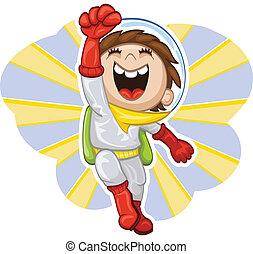 Cartoon boy-astronaut