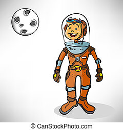 Cartoon boy astronaut